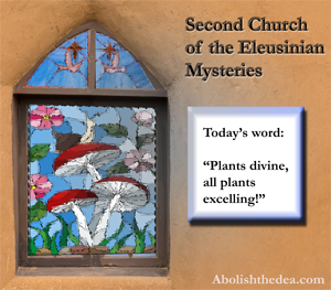 picture of stained glass windows of mushrooms at Second Church of the Eleusianian Mysteries