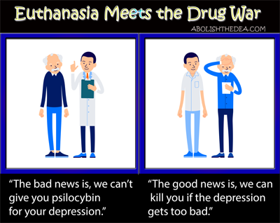 comic strip about the creepy hypocrisy of euthanasia in a country that outlaws plants