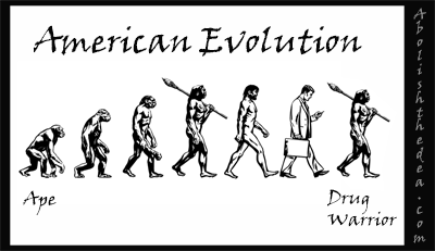 evolution of man: from ape to drug warrior