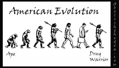 evolution of man: from ape to drug warrior