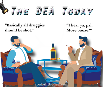 The DEA Today: guest drinking vodka, host smoking cigarette