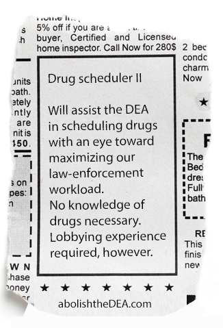 wanted: DEA drug scheduler: must be willing and able to ruin soldiers' lives