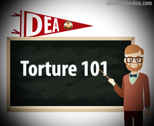 professor teaching Torture 101 at DEA University