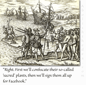 Christopher Columbus demands that natives join Facebook for surveillance purposes
