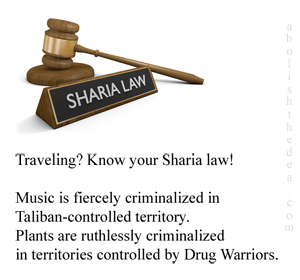 Traveling? Your DEA reminds you to determine what form of Drug War Sharia is operative in the destination of your choice.  And remember: just say no to Mother Nature's godsend plant medicines!