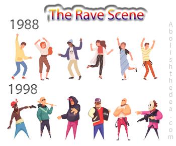Rave scene 1988, peace, love and understanding, 1998 gang warfare