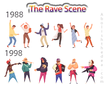 Rave scene 1988, peace, love and understanding, 1998 gang warfare