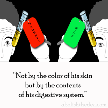 Drug Testing: not by the color of his skin but by the contents of his digestive system. - from AbolishTheDEA.com