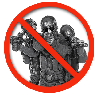 Abolish the DEA image featuring machine-gun-bearing DEA officers enforcing drug law sharia, cracking down on Americans for using Mother Nature's freely offered bounty